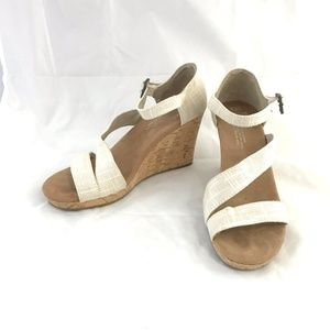 Toms Clarissa cork wedges natural linen sandals